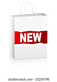 white shopping bag for advertising with new text vector illustration