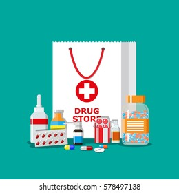 White shopping bag with different medical pills and bottles, healthcare and shopping, pharmacy, drug store. Vector illustration in flat style.
