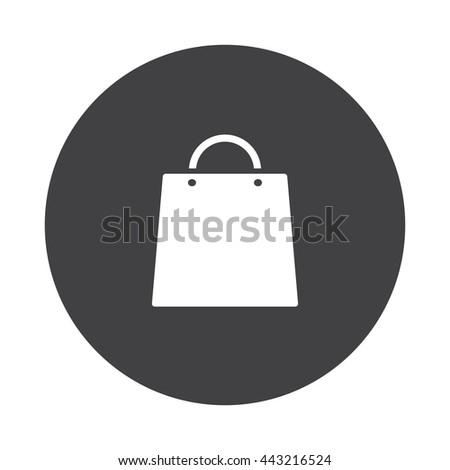 White Shopping Bag Icon On Black Stock Vektorgrafik Lizenzfrei