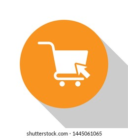 White Shopping cart with cursor icon isolated on white background. Online buying concept. Delivery service sign. Supermarket basket symbol. Orange circle button. Vector Illustration