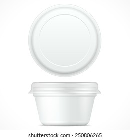 White Short Food Plastic Tub Bucket Container For Dessert, Yogurt, Ice Cream, Sour Cream Or Snack. Mock Up Template Ready For Your Design. Product Packing Vector EPS10