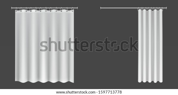 White shower curtains isolated on dark background. Vector realistic mock up of open and closed blank drapped bathroom curtains hanging on metal rings and rod
