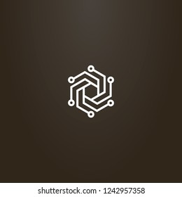 white sign on a black background. vector geometric line art sign of hexagonal spiral chipset