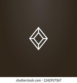 white sign on a black background. vector geometric line art sign of diamond shape gemstone