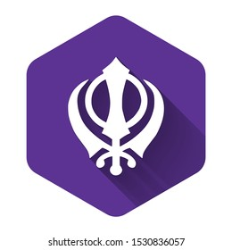 White Sikhism religion Khanda symbol icon isolated with long shadow. Khanda Sikh symbol. Purple hexagon button. Vector Illustration