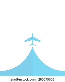 white silhouette of airplane, isolated on blue Flat icon modern design style vector illustration concept.