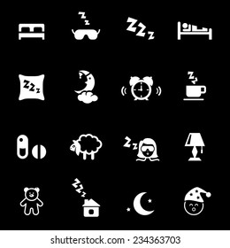 White silhouette of bedtime icons on black background. Vector illustration