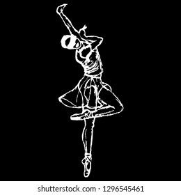White silhouette of blind dancing girl on black background. Balet dancer.  people with reduced capabilities.