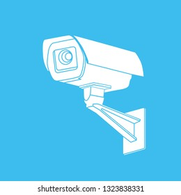 White Silhouette CCTV Security Camera On Stock Vector