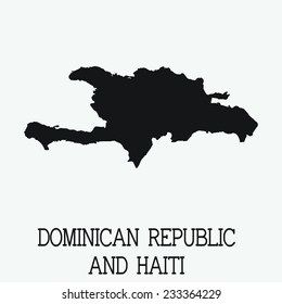 White Silhouette of the Country Dominican Republic and Haiti