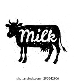 White silhouette of cow head with grunge scratched texture design and text inside. Logo or poster concept. Vector illustration.