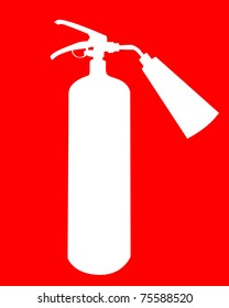 white silhouette of a fire extinguisher on a red background