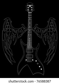 White silhouette of a guitar and wings on a black background;