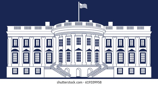 White Silhouette White House Isolated on Blue background. Vector Illustration