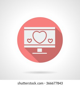 White silhouette monitor with hearts. Love chat. Round pink vector icon with long shadow. Valentines Day series. Design element for website, mobile app.