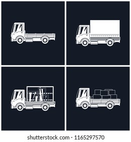 White Silhouette Small Trucks With Different Loads Isolated, Empty And  Covered Trucks, Lorries With