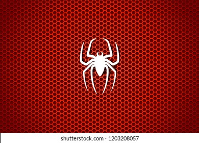 White silhouette of a spider on a cell red background. Vector illustration