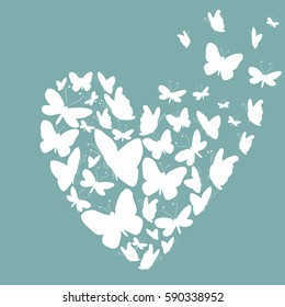 White silhouettes of butterflies in the shape of heart. Vector illustration on turquoise background