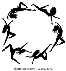 White silhouettes of  dancing women in the circle. vector illustration on white background