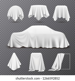 White silk cloth covered objects realistic set with draped car hanging napkin tablecloth curtain transparent vector illustration