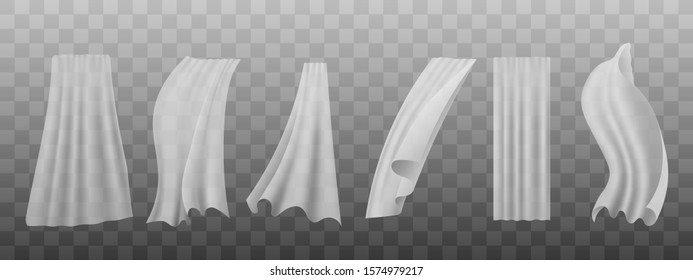 White silk curtain set hanging and flowing in the wind - realistic veil with light textile fabric texture blowing in the breeze - semi transparent isolated vector illustration