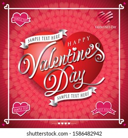 """White or silver color ribbon form the word """"Valentine's Day"""" with sample text area."""