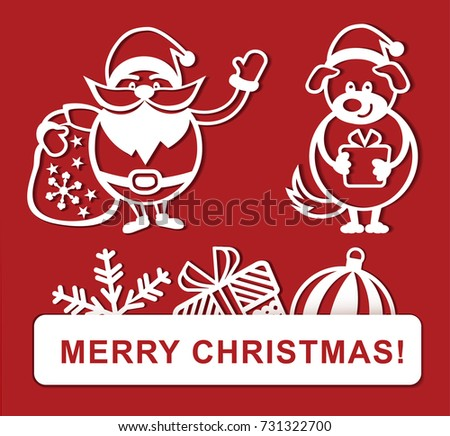white simple christmas drawings on red background merry christmas banner santa christmas dog - Simple Christmas Drawings