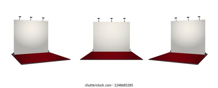 White simple exhibition stand booth design. Corporate identity conecpt. Vector illustration.