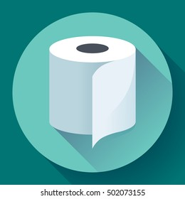 White simple flat toilet paper icon vector