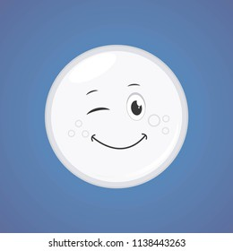 White simple winking character cartoon moon. Vector illustration, isolated on blue background. Cute smiling moon icon. Vector graphic illustration EPS 10.