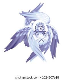 White six-winged seraphim monochrome on a white background