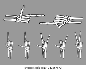 White Skeleton Hand Gestures Set