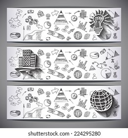 White sketched business Banners: Idea, Globe,Building  - vector illustration