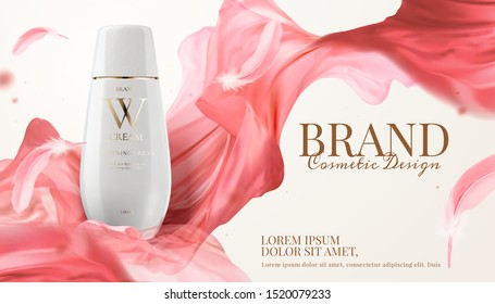 White skincare bottle ads with pink chiffon flying in the air, 3d illustration