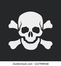 White skull with crossbones icon on dark background. Sign of danger or poison to life. Template design for t-shirt, web or mobile app. Vector illustration