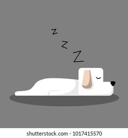 White Sleeping Dog Cartoon Vector, for design, banner, logo