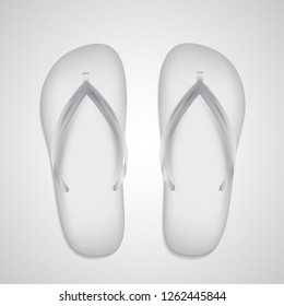 White slippers realistic template isolated on white background. Vector flip flops, beach clothing accessory. Mock up for branding. Summer pool shoes. Tropical footwear closeup.