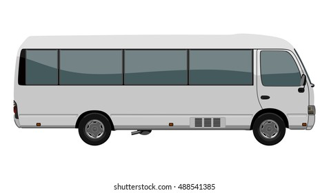 White small bus on the white background