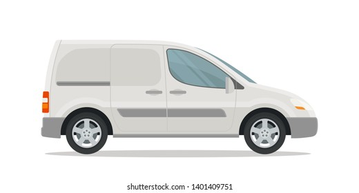 White small van, side view. Template of van for corporate identity, advertising and cargo company. Vector illustration, flat design style. Isolated on white background.