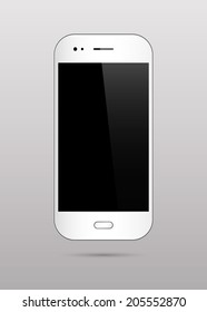 White Smart Phone With Black Blank Screen. Vector Illustration.