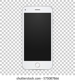 White smart phone with blank empty screen in realistic 3d style, vector quality illustration.