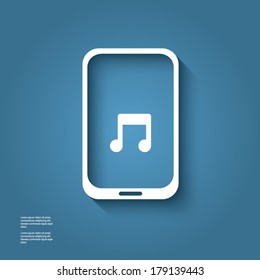 White smart phone infographic element with music icon in the middle with 3d effect. Eps10 vector illustration.