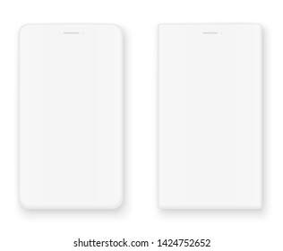 White smart phone mockup, front view. 3D phone template for inserting text, business presentations.