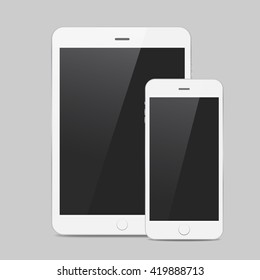 White smart phone and tablet  icon with shadow
