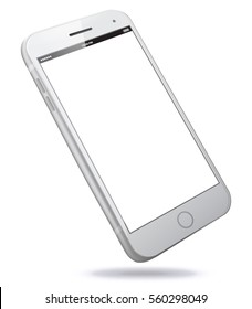 White Smart Phone Vector Illustration isolated on white.