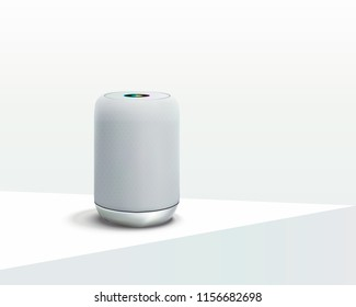 White Smart speaker. Voice control user interface smart speaker Vector realistic.