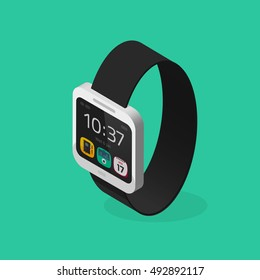 White smart watch isometric style with black bracelet vector illustration isolated on green color background, digital clock with touchscreen display, smartwatch flat cartoon 3d design