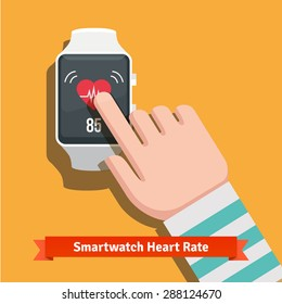 White smart watch showing heart beat rate app. Human hand finger pushing touchscreen. Flat vector icon.