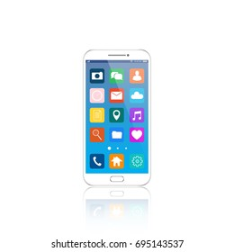 White Smartphone with cloud of application icons and Apps icons flying around them, isolated on White background. EPS10