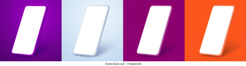 White smartphone display screen in the rotated position on different fashionable and modern backgrounds. Different phone colors purple, white, orange, red. Mockup generic device. UI/UX smartphones set